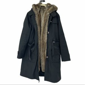 4-in-1 black faux fur lined layered trench coat